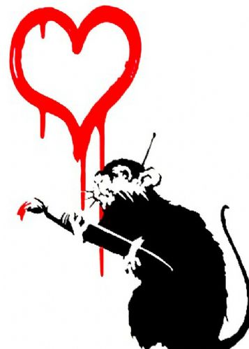 BANKSY - LOVE RAT canvas print - self adhesive poster - photo print